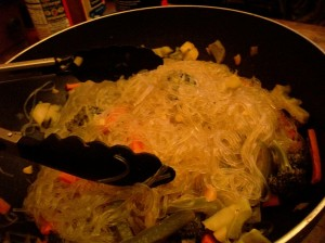Sweet Potato Noodles with Veggies. Bad picture but great tasting.