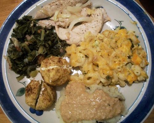 Collard Greens, Mac & Cheese, Corn Muffins, BBQ Chicken, Mashed Potatoes and Vegan Gravy