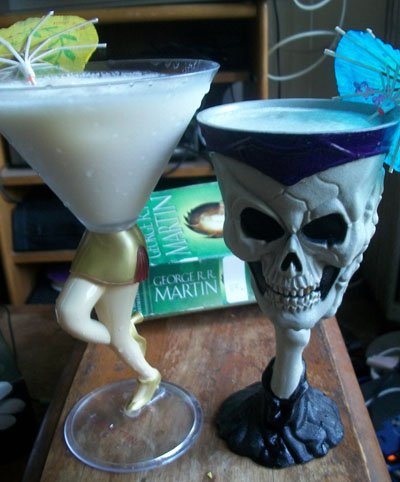 Rockette Glass and Skull Goblet.  Reading: Storm of Swords