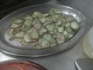 Cucumbers Seasoned with Salt, Sesame Oil and Seeds