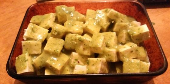 Tofu with Cilantro Miso Sauce